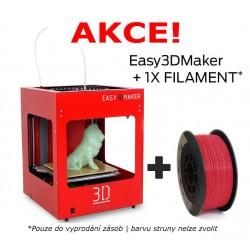 3Dfactories Easy3DMaker (červený) + 750g PLA